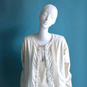 APC Tops - APC Paris Cotton MADRAS Ruffle Front Summer Shirt